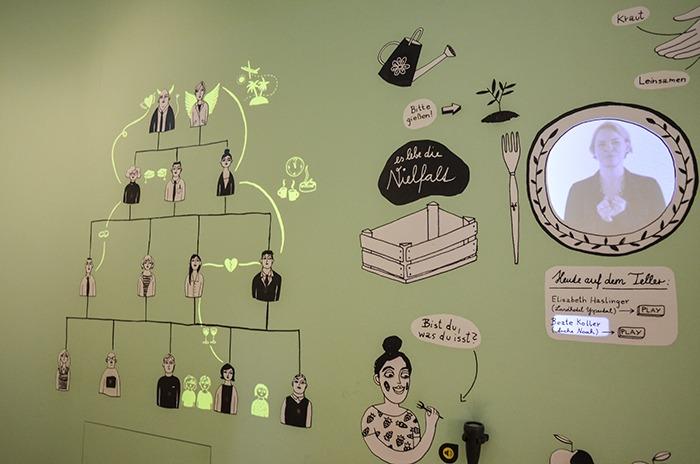 Interaktive Wand bei der Landesausstellung